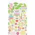 Whimsical Owl Family and Critters in Pink Wall Sticker