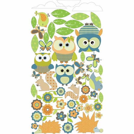 Whimsical Owl Family and Critters in Teal Wall Sticker
