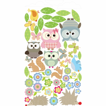 On Sale Whimsical Owl Family and Critters Wall Sticker