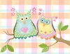 Whimsical Owl Pair on Plaid Canvas Reproduction