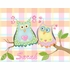 Whimsical Owl Pair on Vines Canvas Reproduction