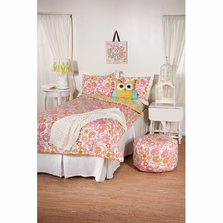 Whimsy Pink Damask Twin Comforter and Sham Set