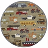 Whimsy Planes Trains & Automobiles Round Rug