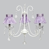 White 3 Light Bliss Chandelier With Lavender Ruffled Sheer Skirt Shades