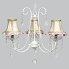 White 3 Light Bliss Chandelier With Pink And White Stripe Shades With Green Trim