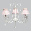 White 3 Light Bliss Chandelier With Pink Ruffled Sheer Skirt Shades