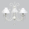 White 3 Light Bliss Chandelier With White Ruffled Sheer Skirt Shades