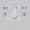 White 3 Light Jewel Chandelier With Lavender Ruffled Sheer Skirt Shades