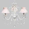 White 3 Light Jewel Chandelier With Pink Ruffled Sheer Skirt Shades