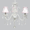 White 3 Light Jewel Chandelier With White And Pink Petal Flower Shades