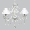 White 3 Light Jewel Chandelier With White Ruffled Sheer Skirt Shades