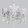White 5 Light Elegance Chandelier With Lavender Drum Shades And White Pom Poms