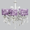 White 5 Light Elegance Chandelier With Lavender Rose Garden Shades