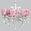 White 5 Light Elegance Chandelier With Pink Rose Garden Shades