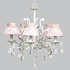White 5 Light Elegance Chandelier With Pink Ruffled Sheer Skirt Shades