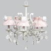 White 5 Light Elegance Chandelier With Pink Sheer Skirt Shades And White Roses