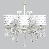 White 5 Light Elegance Chandelier With White Pom Pom Drum Shades