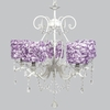 White 5 Light Grace Chandelier With Lavender Rose Garden Drum Shades