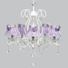 White 5 Light Grace Chandelier With Lavender Ruffled Sheer Skirt And Lavender Rose Shades