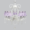 White 5 Light Grace Chandelier With Lavender Ruffled Sheer Skirt Shades