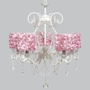 White 5 Light Grace Chandelier With Pink Rose Garden Drum Shades