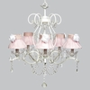 White 5 Light Grace Chandelier With Pink Ruffled Sheer Skirt And White Rose Shades