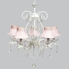 White 5 Light Grace Chandelier With Pink Ruffled Sheer Skirt Shades