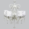 White 5 Light Grace Chandelier With White Rose Garden Drum Shades