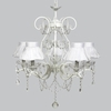 White 5 Light Grace Chandelier With White Ruffled Sheer Skirt Shades