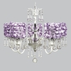 White 5 Light Wistful Chandelier With Lavender Rose Garden Drum Shades