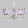White 5 Light Wistful Chandelier With Lavender Ruffled Sheer Skirt Shades
