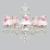 White 5 Light Wistful Chandelier With Pink Ruffled Sheer Skirt And Pink Rose Shades