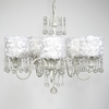 White 5 Light Wistful Chandelier With White Rose Garden Drum Shades