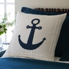 White Anchor Linen Throw Pillow