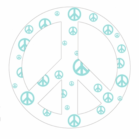 White and Blue Peace Sign Wall Sticker