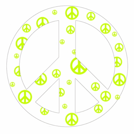 White and Green Peace Sign Wall Sticker