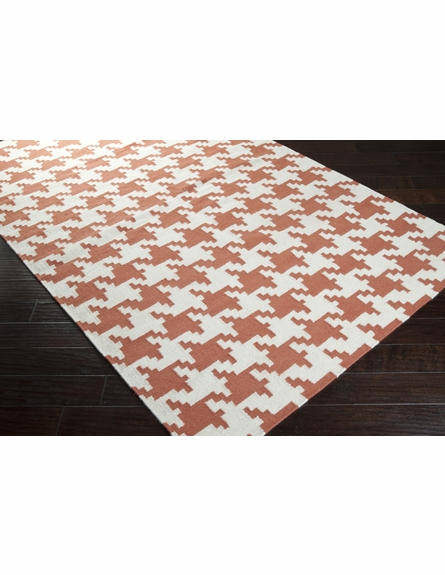 White and Paprika Houndstooth Frontier Rug