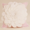 White and Pink Flower Applique Throw Pillow