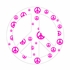 White and Pink Peace Sign Wall Sticker