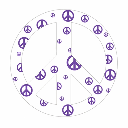 White and Purple Peace Sign Wall Sticker