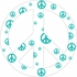 White and Teal Peace Sign Wall Sticker