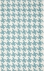 White and Turquoise Houndstooth Frontier Rug