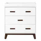 White and Walnut Scoot 3-Drawer Changer Dresser