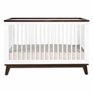 White and Walnut Scoot Convertible Crib