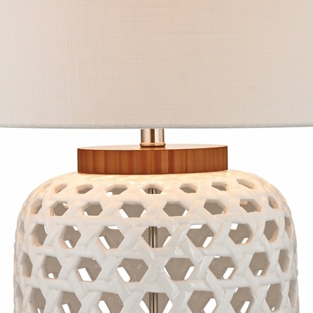 White  Bleached Wood Table Lamp