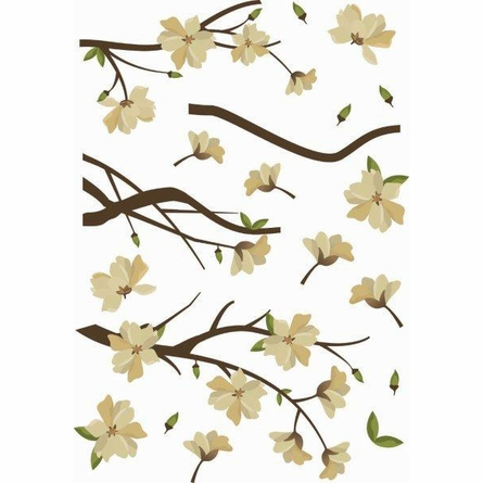 White Branches Floraison Creme Wall Decals