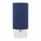 White Ceramic Accent Table Lamp With Blue Shade