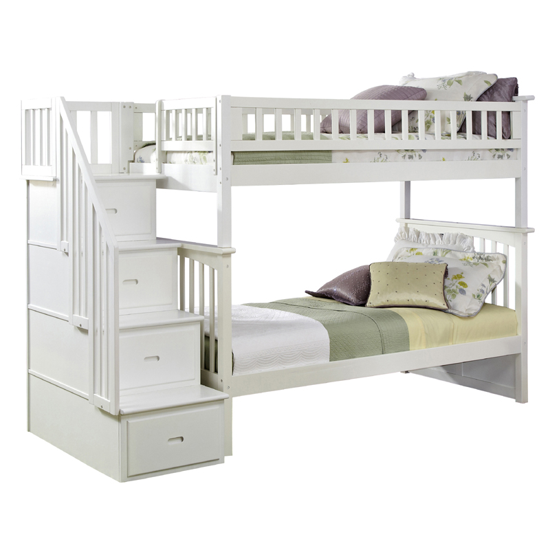 White Classic Arch Slatted Bunk Bed with Stairs - RosenberryRooms.com