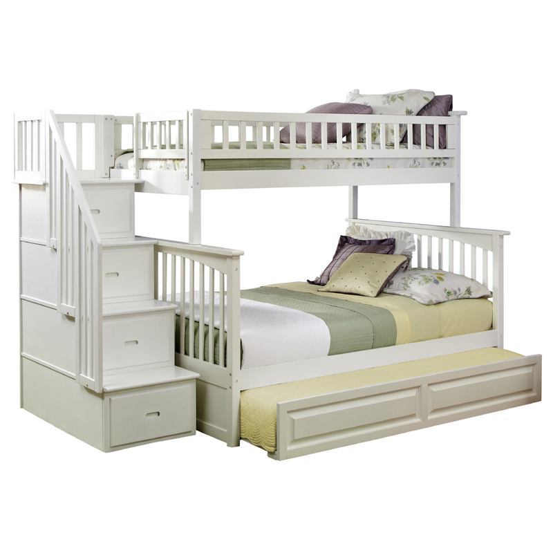 White Bunk Bed with Stairs 800 x 800