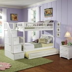 White Classic Arch Slatted Bunk Bed with Stairs